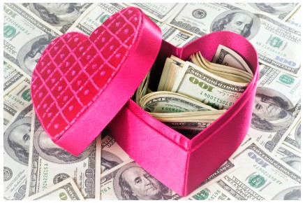 Pink Valentine's heart box filled with money
